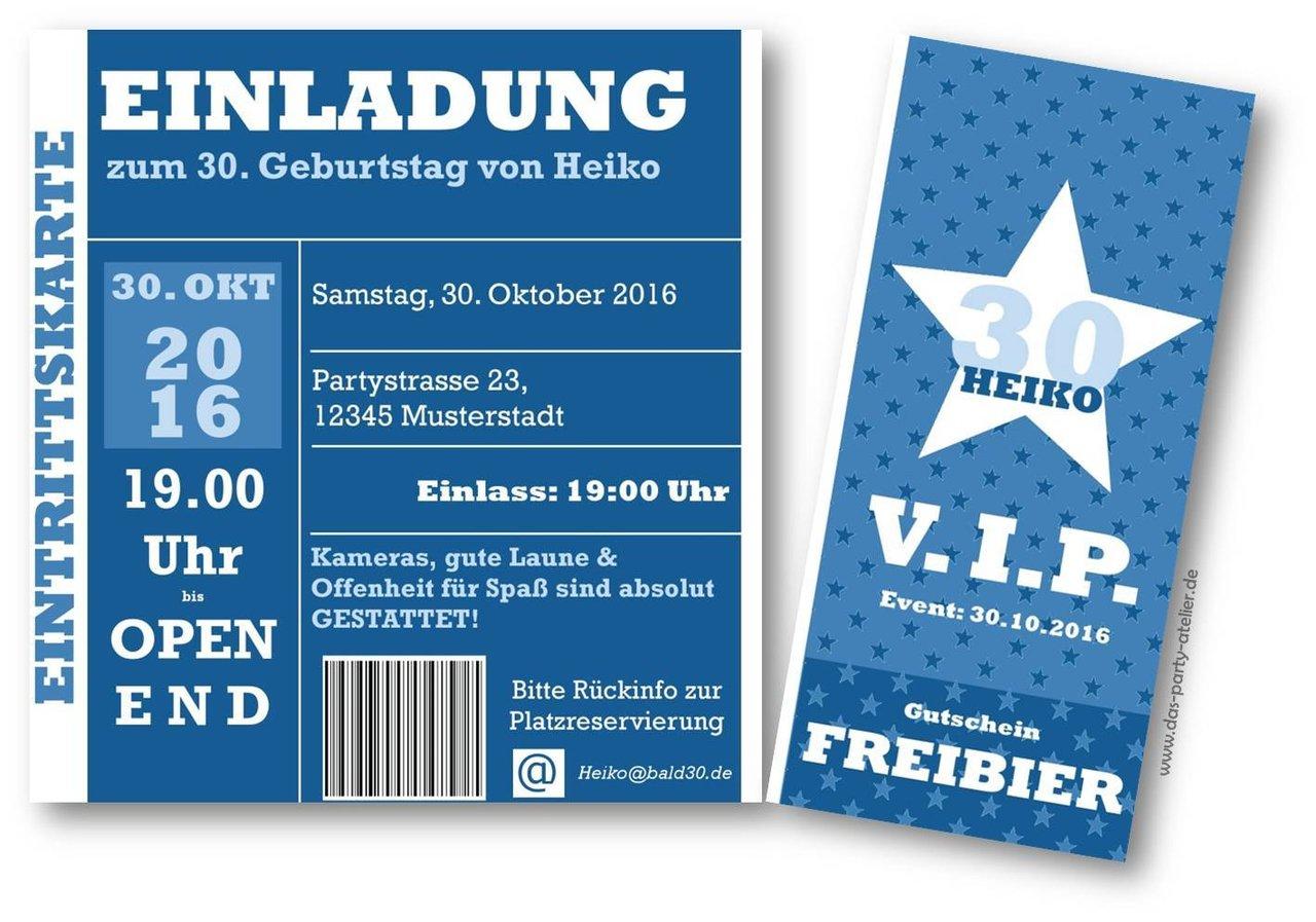 einladung eintrittskarte mit perforation - www.das-party-atelier.de, Einladung