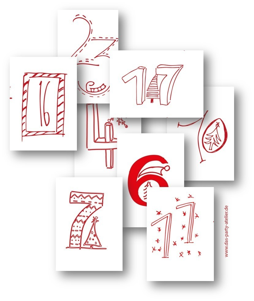 Adventskalenderzahlen HANDLETTERING ROT (pdf download)