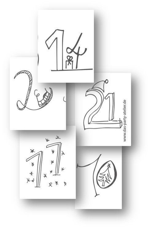 Adventskalenderzahlen HANDLETTERING GRAU (pdf download)